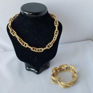 Monet Signed Vintage Bracelet Textured & Necklace